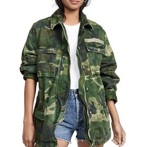 Free People Seize The Day Camouflage Denim Jacket